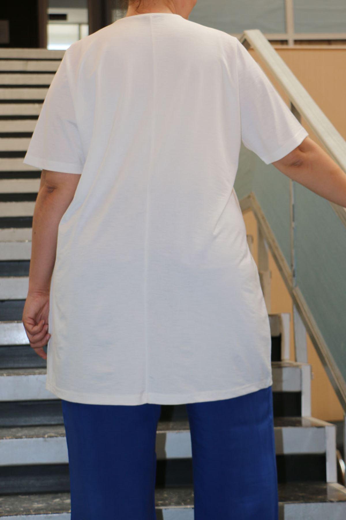 8532 Plus Size Printed T-Shirt - White