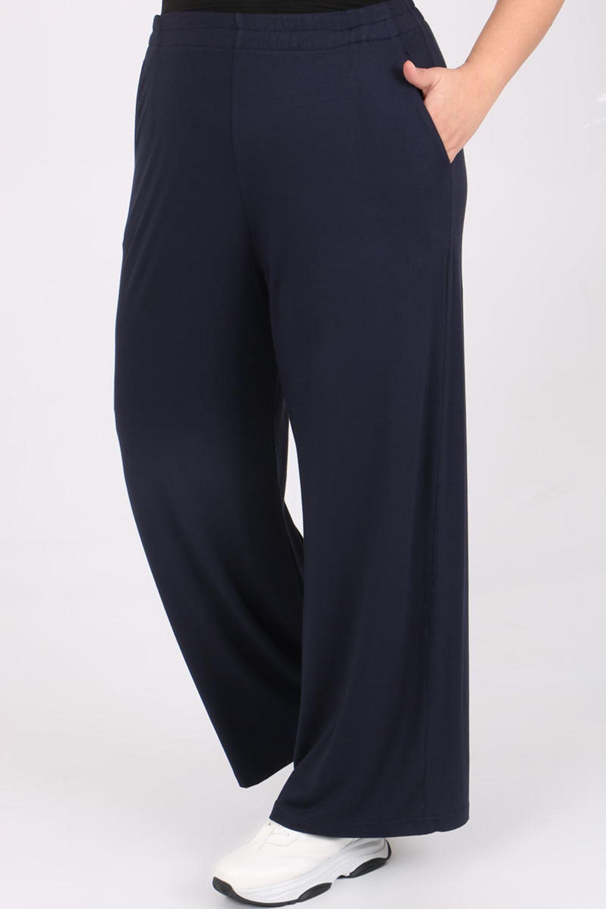 9012 Plus Size Elastic Waist Pants - Navy blue