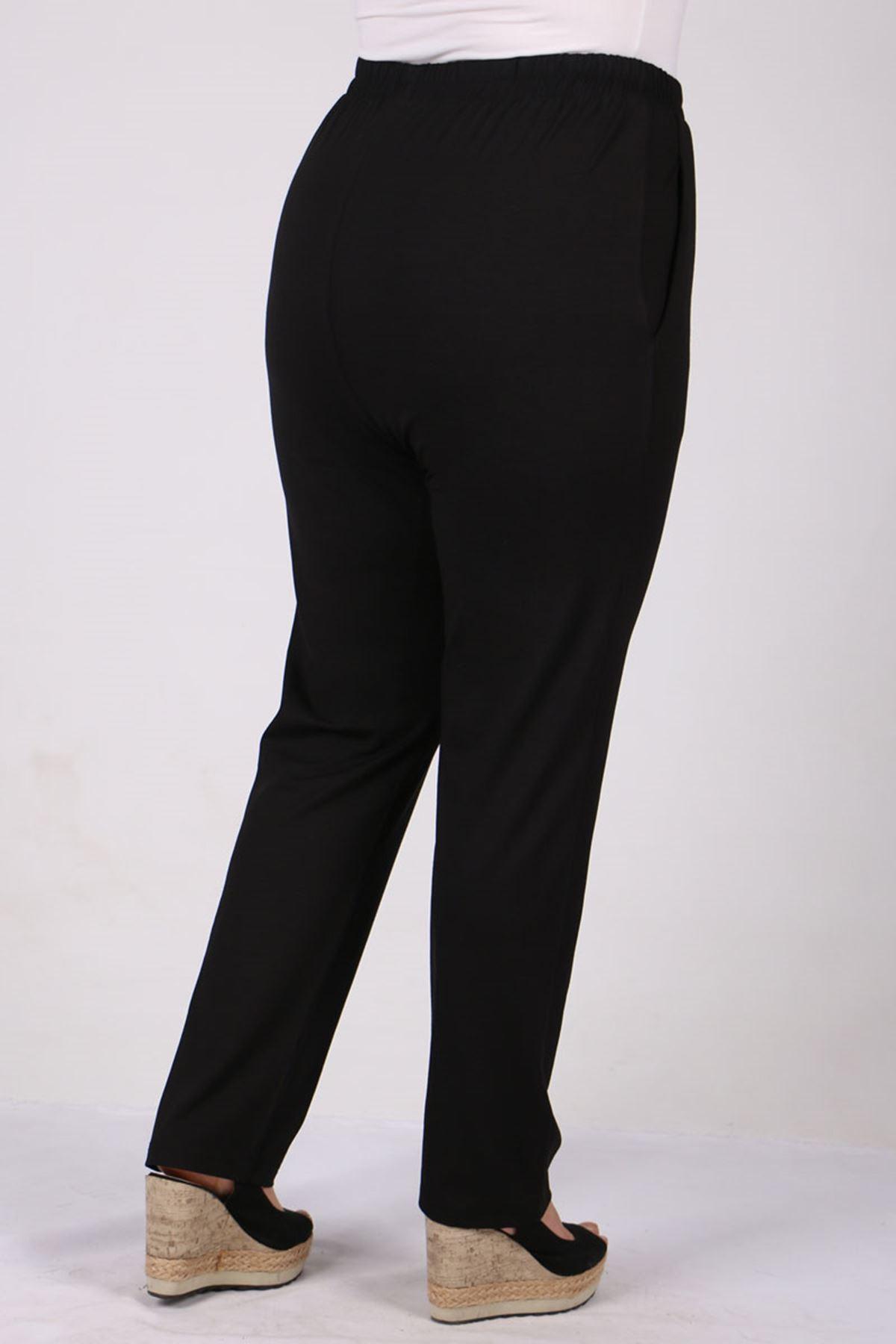 9160 Plus Size High Waist Elastic Pants - Black