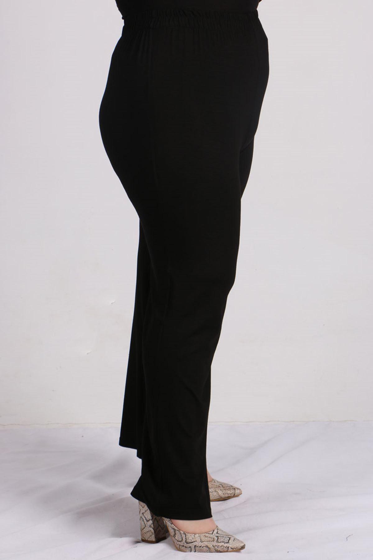 7697 Plus Size Tunic Pants Double Suit - Black