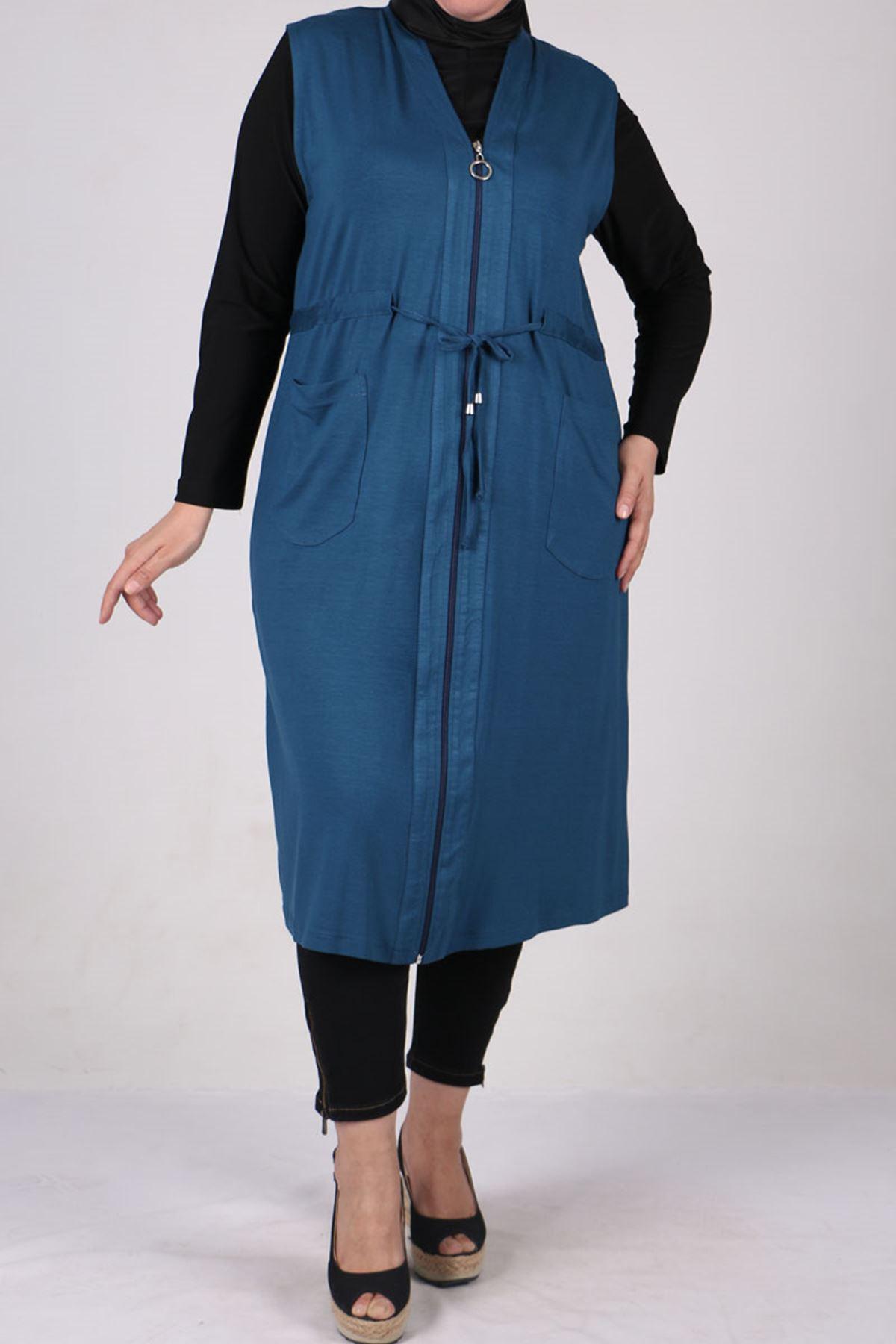 4052 Plus Size Zip-down Vest - Petrol Blue