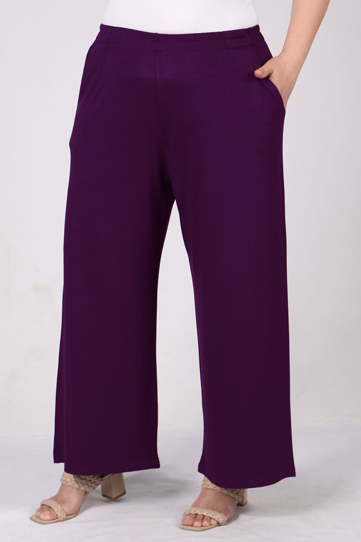 9012 Plus Size Elastic Waist Pants - Purple