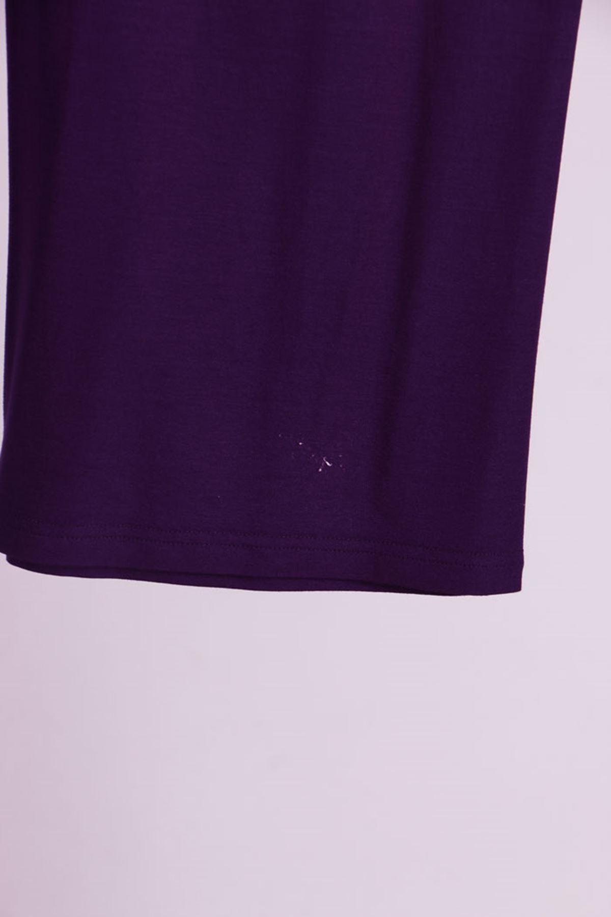 7598 Plus Size Tunic Pants Binary Suit- Purple
