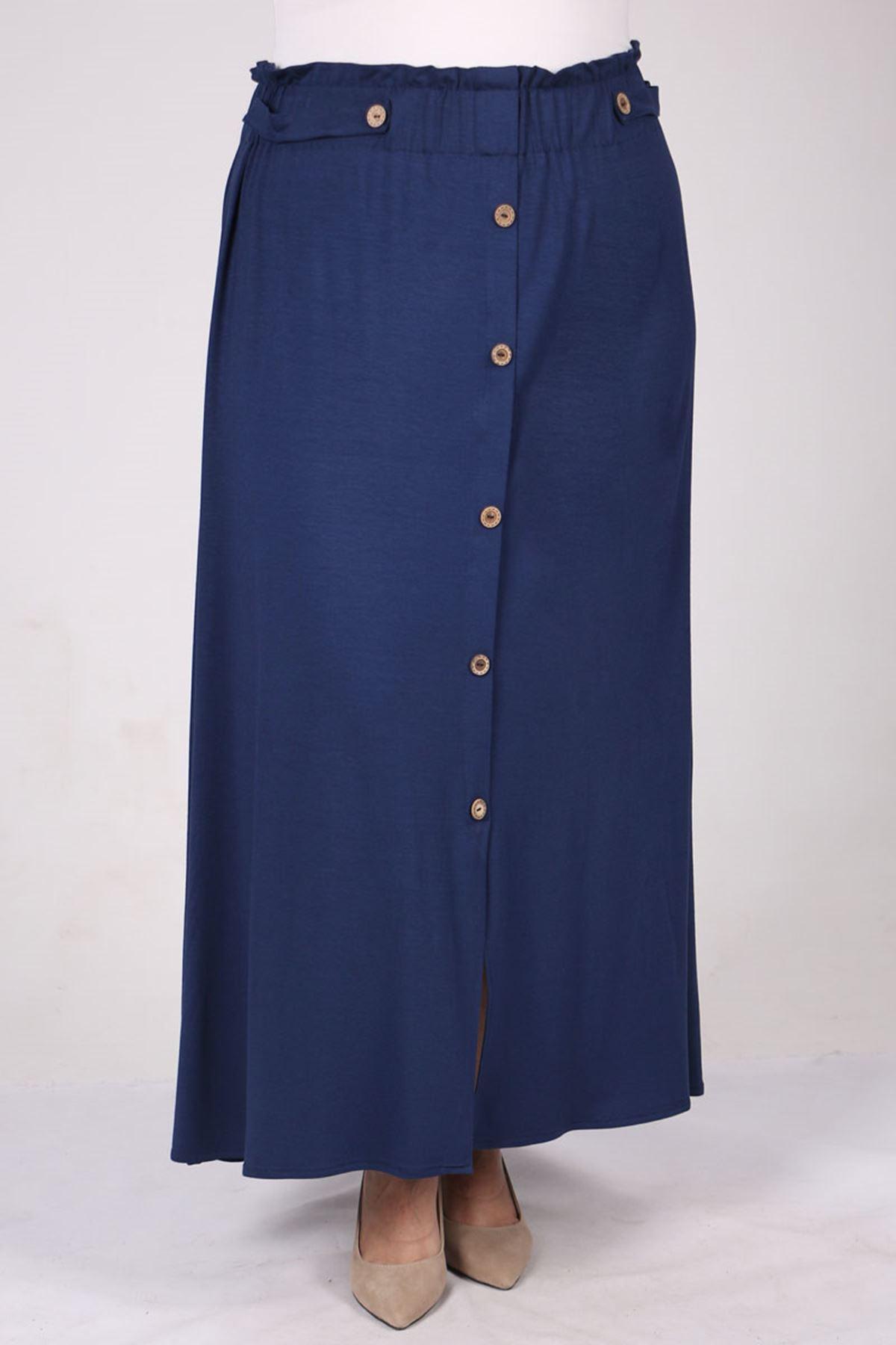 5046 Plus Size Elastic Waist Skirt with Button - Indigo
