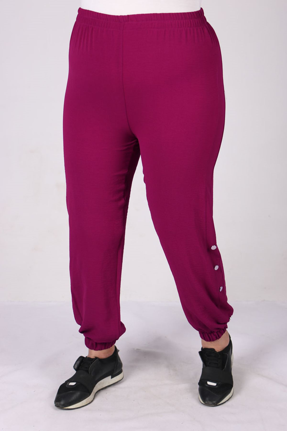 7699 Plus Size Snap Fastener Two Piece Set with Pants - Plum