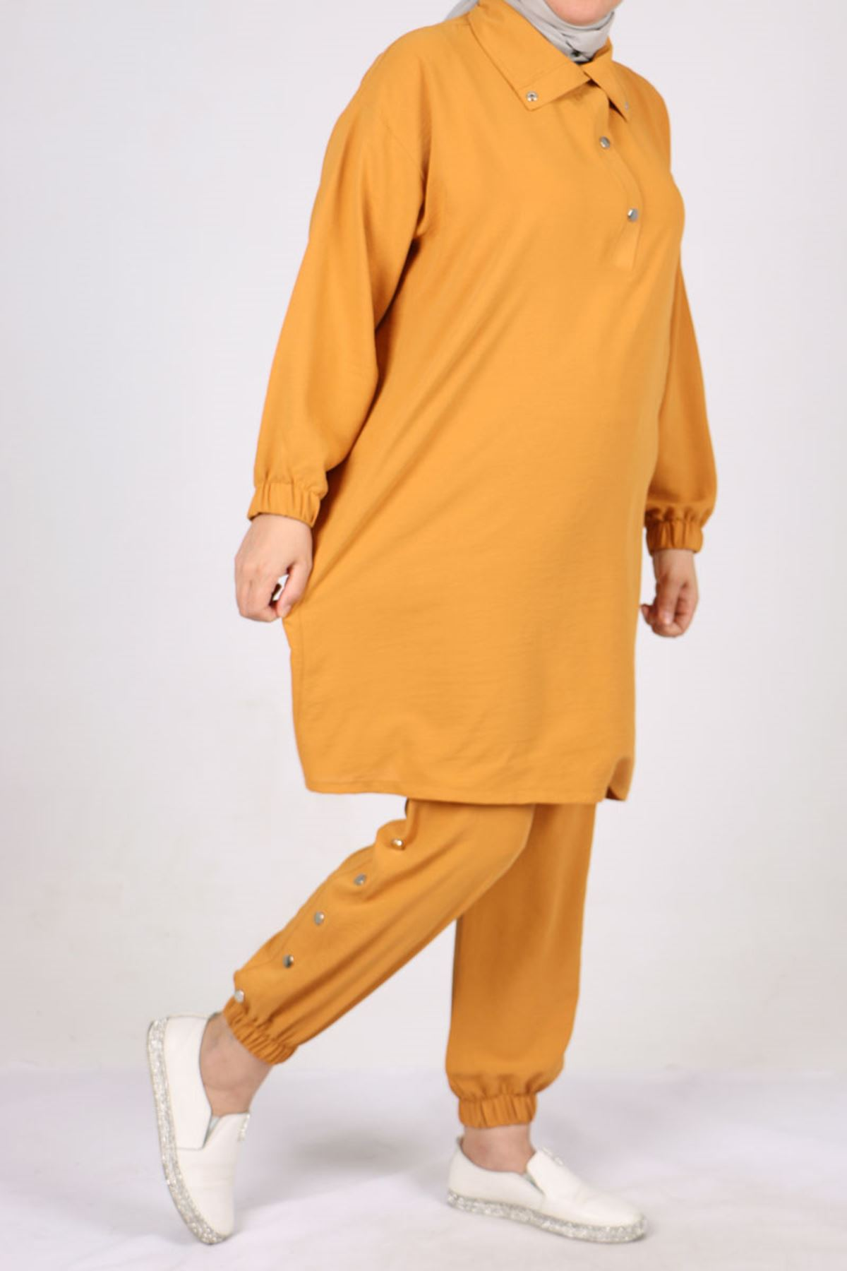 7699 Plus Size Snap Fastener Two Piece Set with Pants - Mustard