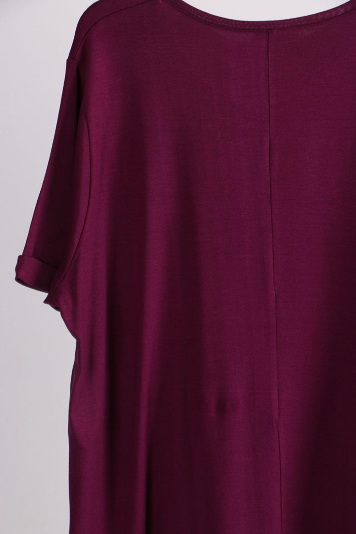 8529 Plus Size Basic T-shirt - Plum
