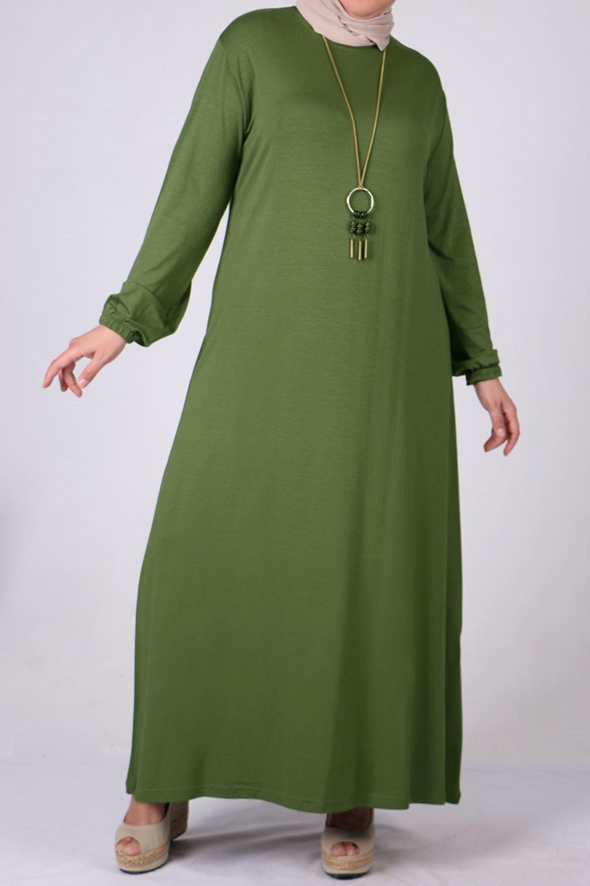2035 فستان بأكمام مطاط مقاس كبير - بني مينك