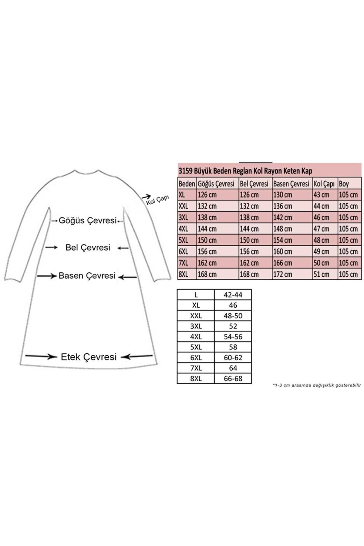 3159 Plus Size  Raglan Sleeve Rayon Linen Coat - Beige
