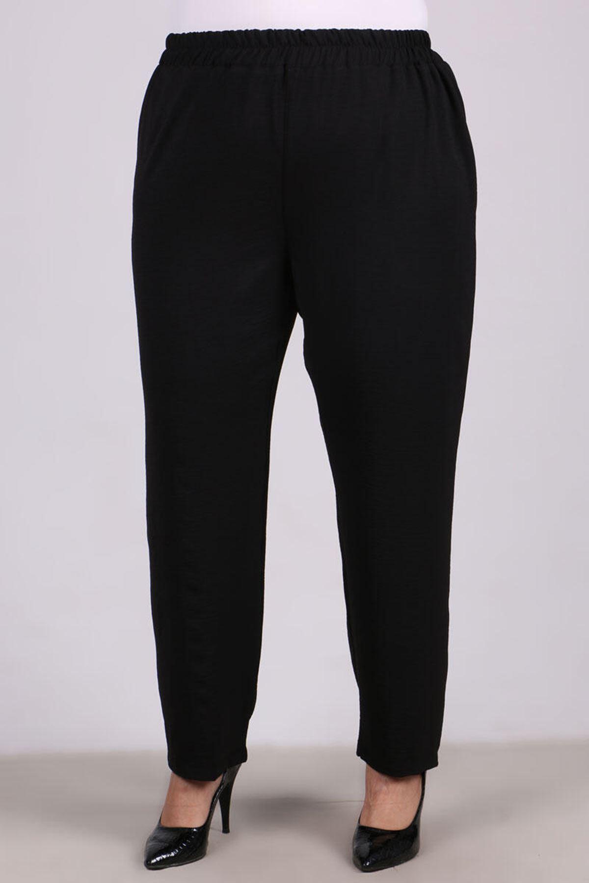 7674 Plus Size Ruffle Detailed Pants Suit- Black