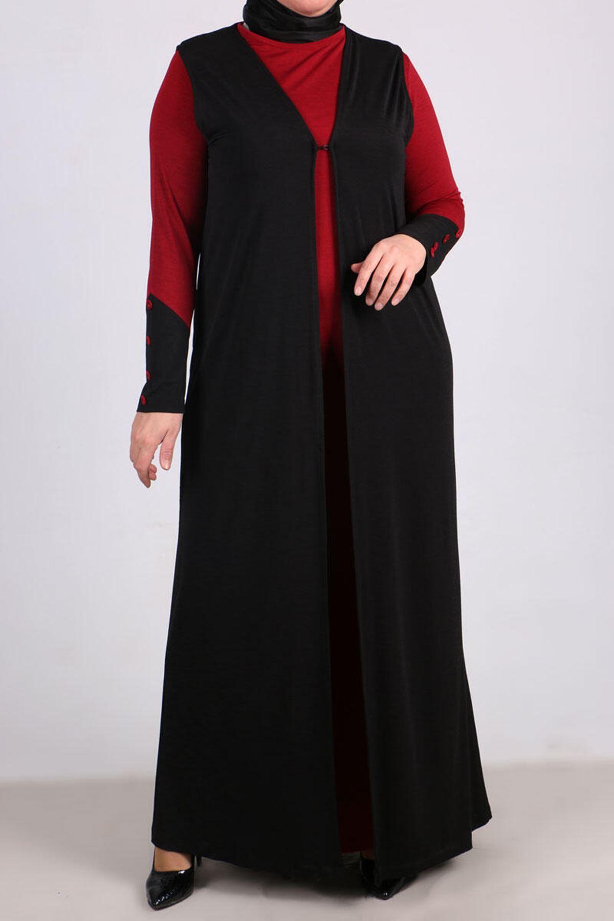 7212 Plus Size Vest - Dress Binary Suit - Claret Red