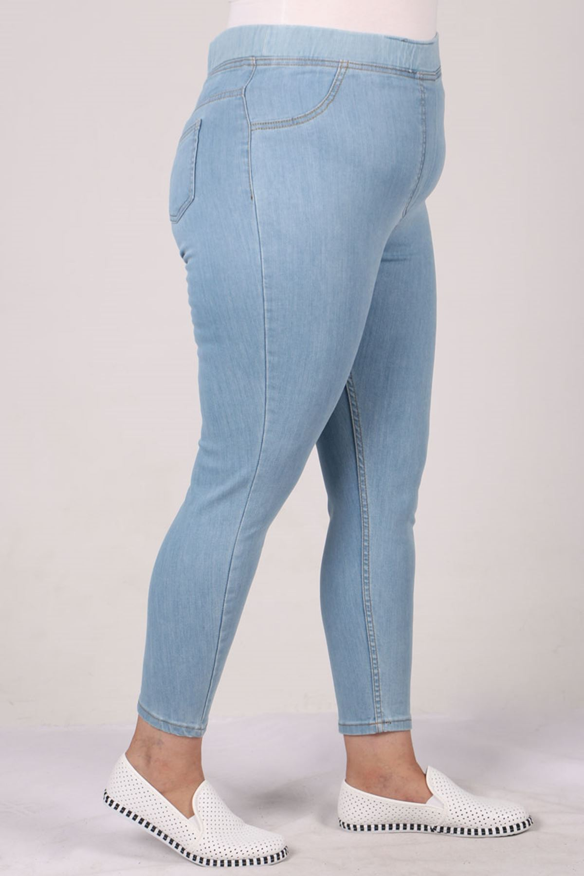9109-10 بنطلون جينز مرن الخصر و مقاس كبير- أزرق