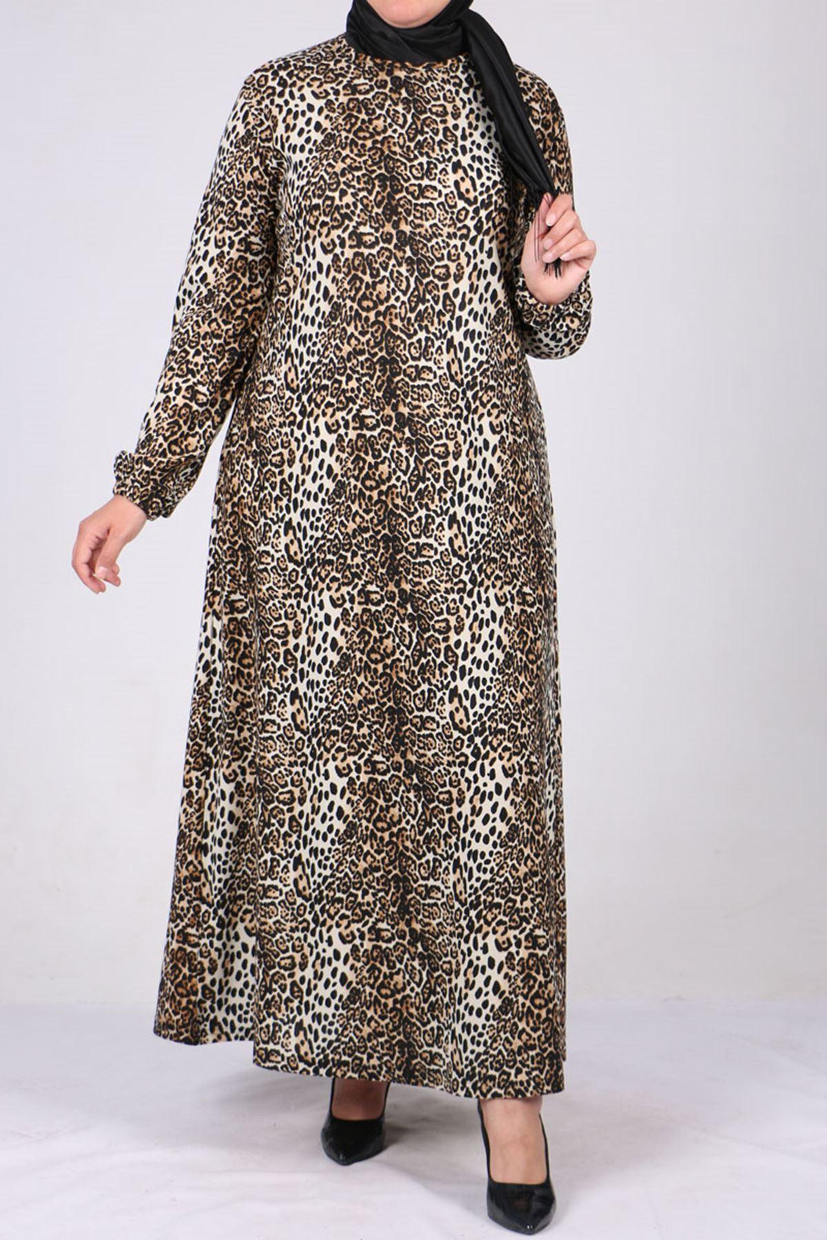 2093 Plus Size Knitted Crepe Sleeve Elastic Dress - Beige - Leopard