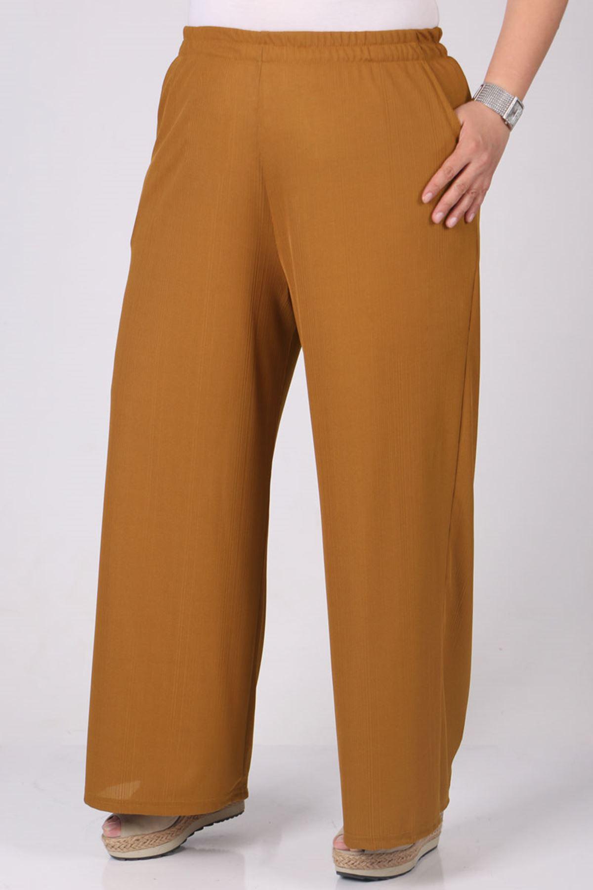 9163 Plus Size Elastic Waist Pants - Mustard
