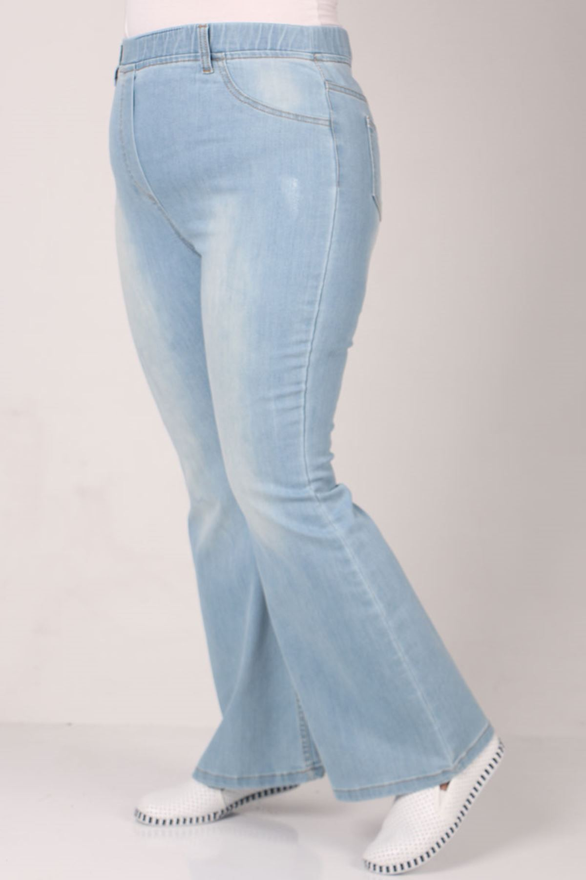 9137 Plus Size Elastic Waist Flared Jeans - Dark Navy Blue