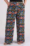 9156 Plus Size Pants - Orange Patterned