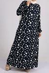 2093 فستان بأكمام مرنة  مقاس كبيرة - كحلي - منقط