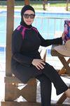 3215 ملابس سباحة  مقاس كبير للمحجبات - اسود