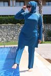 3215 ملابس سباحة  مقاس كبير للمحجبات - أزرق بترولي