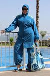 3405 Plus Size Stoppered Hijab Swimsuit - Petrol